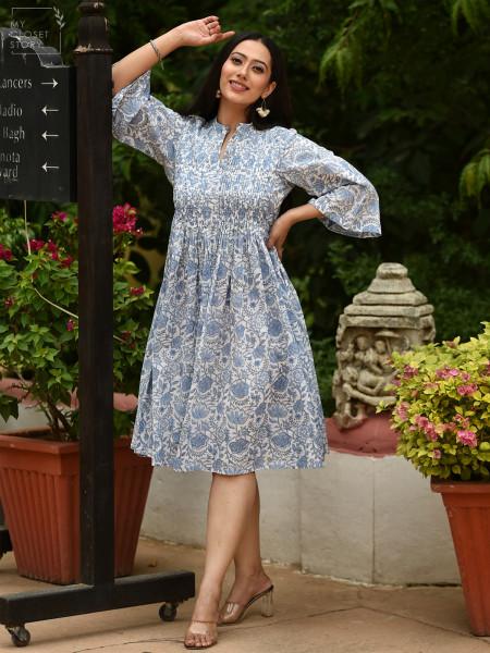 Jenny Icy Blue Floral Cotton Dress