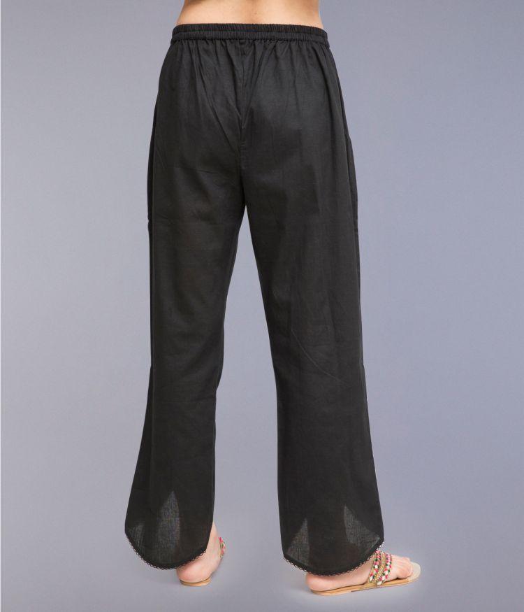 Black Colour Tulip Pants