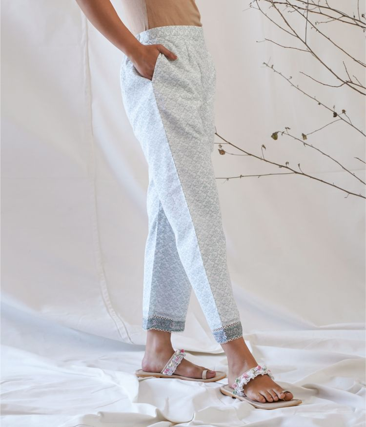 Light Green and White Straight Pants