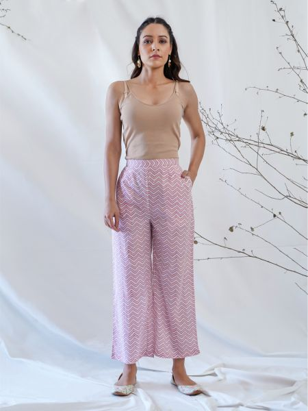 Peach and White Straight Pants