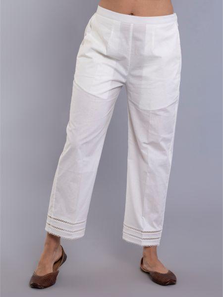 White Basic Straight Pajama