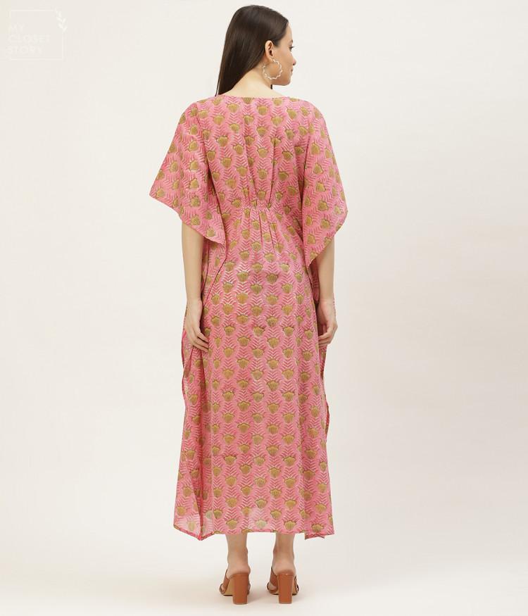 Razia Pink Printed Embroidered Kaftan Dress