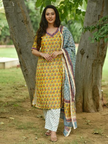 Bagh Chanderi Block Printed Suit Set