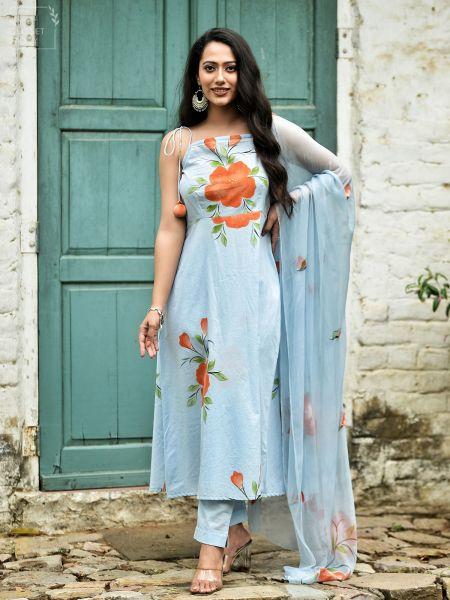 Breezy Blue Floral Hand Painted Cotton Suit Set
