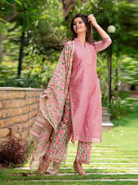 Pink Roses Premium Chanderi Silk Suit in Handblock Print