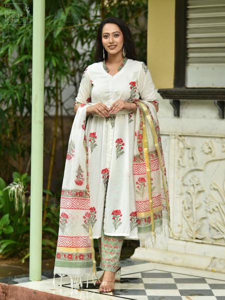 White Blossom Block Printed Cotton Suit Set