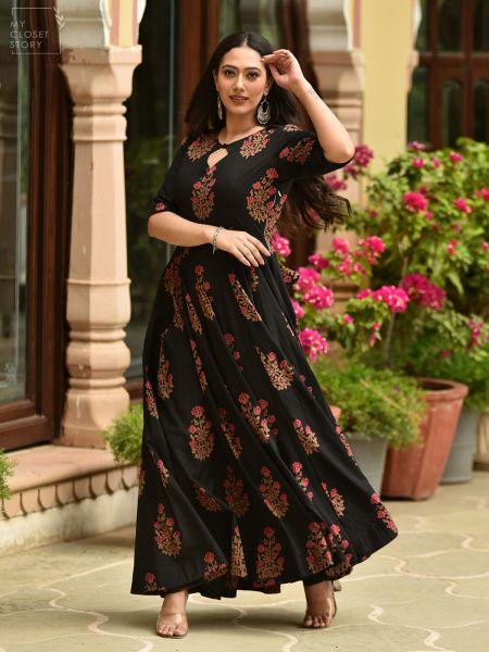 Midnight Black Anarkali Cotton Dress