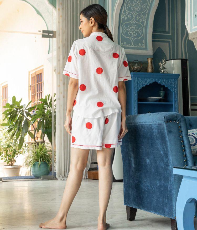 White Colour Anna Cotton Night Suit - Short Set