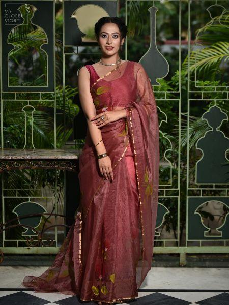 Rose Pink Hand Painted Saree