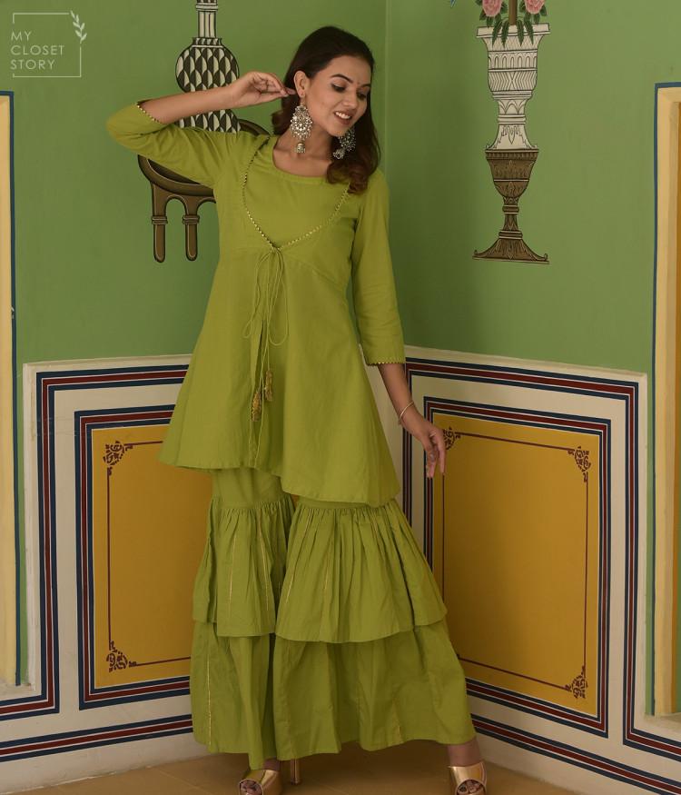 Bergania Solid Green Sharara Set