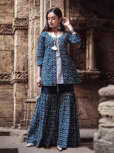 Block Print Blue A-Line Jacket Top with Free Size Sharara Pant