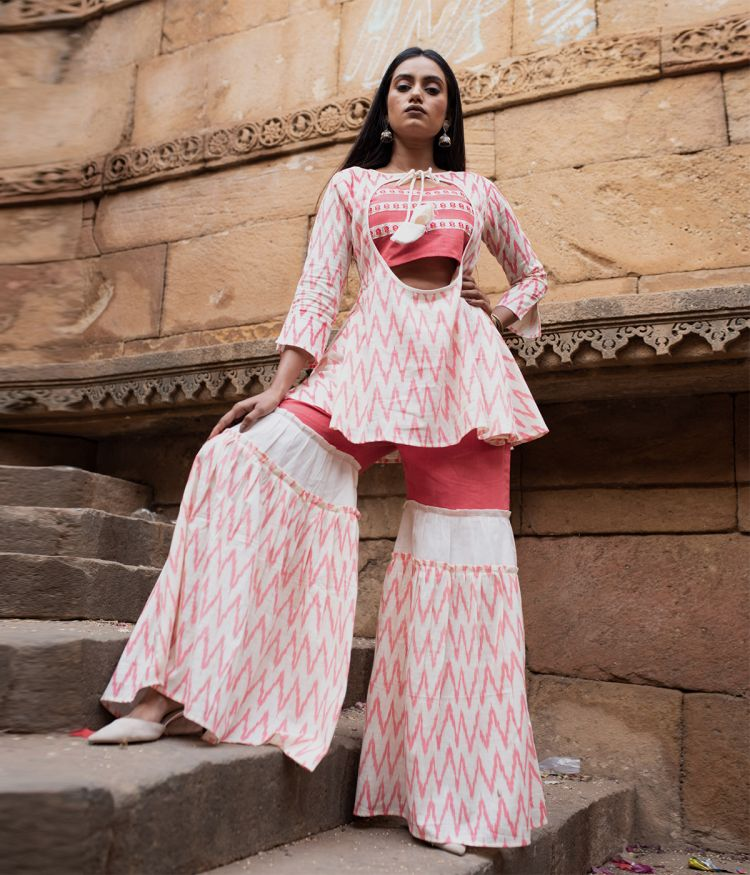Block Printed Off White A-line Long Top with Sharara Pant