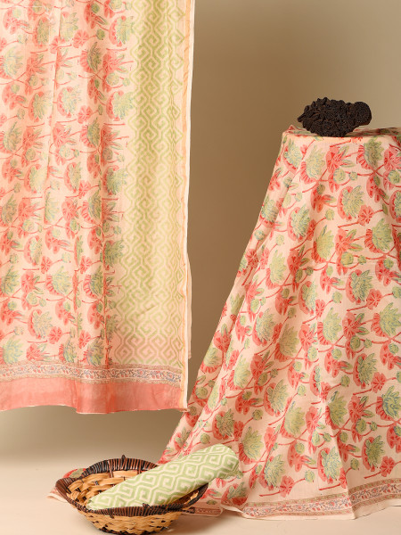 Clay Red Chanderi Unstitched Suit Set